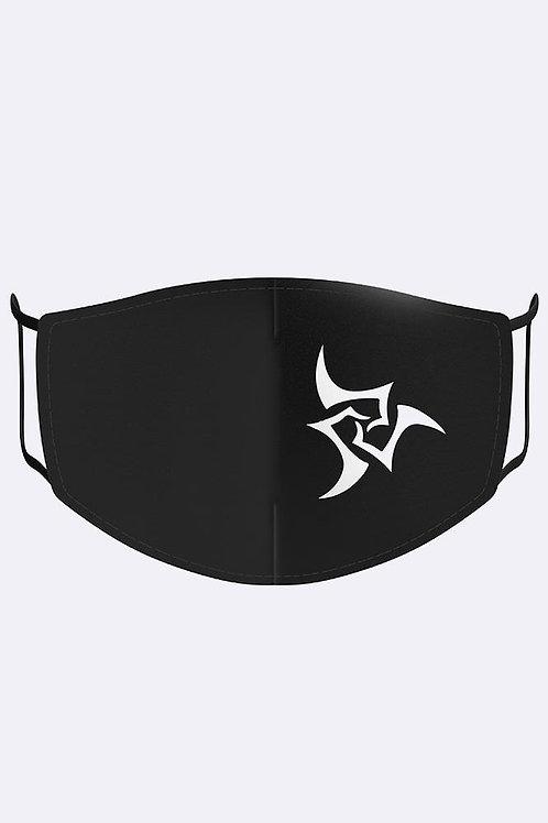 Adults White Motif Print Black Cotton Face Mask/Covering