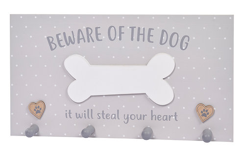 'Beware Of The Dog' Grey Lead Hooks