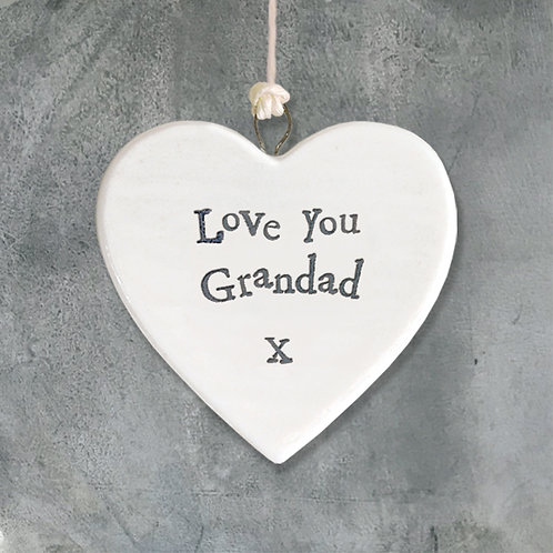 East Of India - 'Love You Grandad' Porcelain Hanging Heart