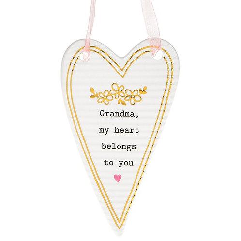 Grandma - Thoughtful Words Ceramic Heart