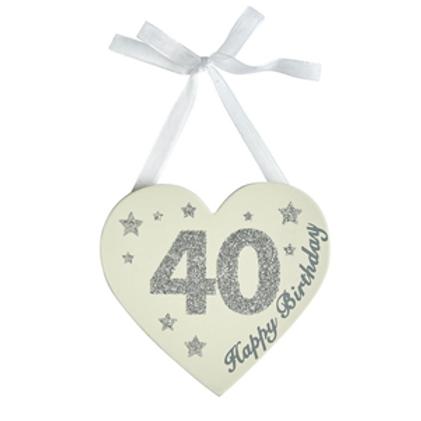 40th Birthday Glitter Heart