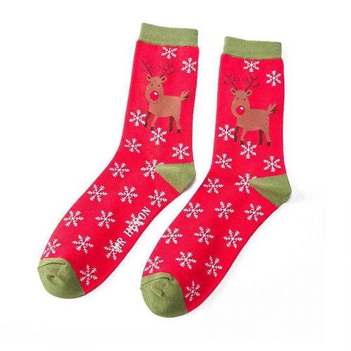 Mr Heron Men's Bamboo Socks - Rudolph Red