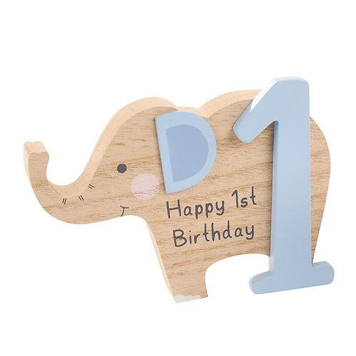 1st Birthday Elephant Block - Blue