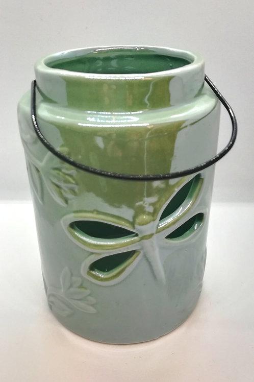 Green Ceramic Dragonfly Cut Out Lantern