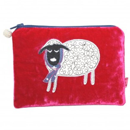 Lua - Winter Sheep Velvet Purse - Hot Pink