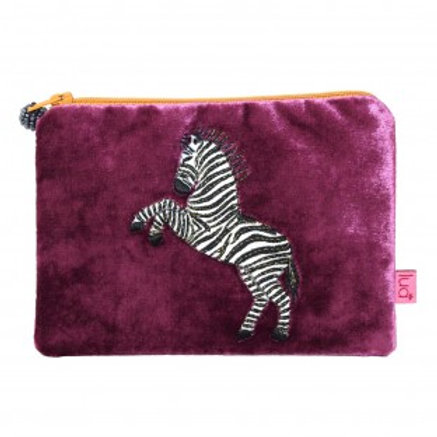 Lua - Zebra Applique Velvet Purse - Plum