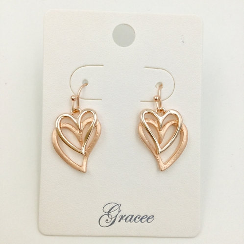 Rose Gold Double Hearts - Earrings