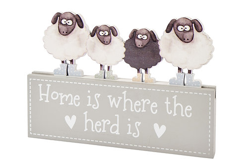'Home Is Where The Herd Is' - Wooden Block