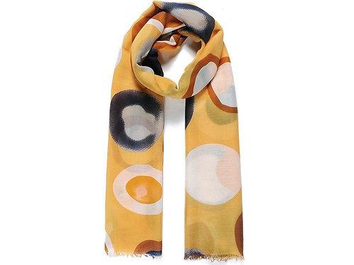Yellow abstract circle print scarf