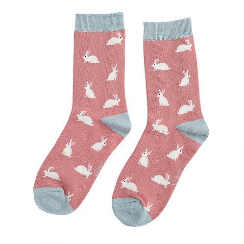 Miss Sparrow Ladies Bamboo Socks - Bunny Dusky Pink