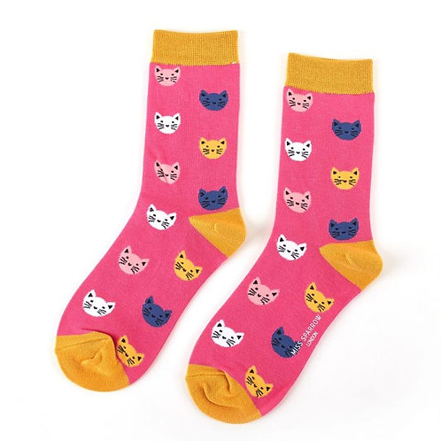 Miss Sparrow Ladies Bamboo Socks - Cats Pink
