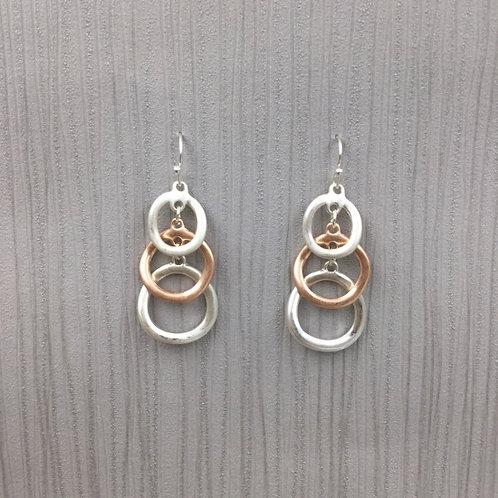 Matt Silver & Rose Gold Loops - Earrings