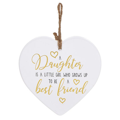 Golden Sentiment Ceramic Heart - Daughter