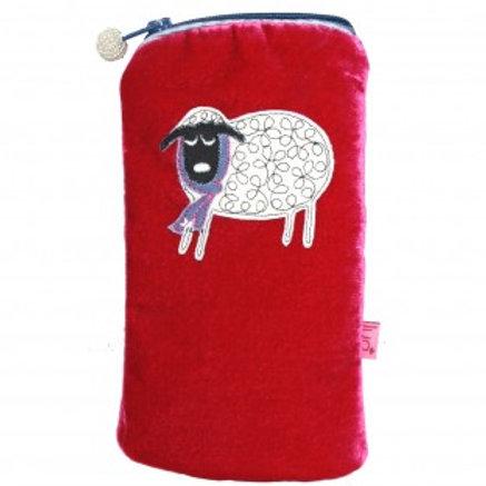 Lua - Winter Sheep Velvet Glasses Pouch - Hot Pink