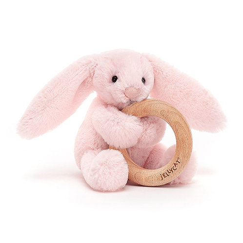 Jellycat - Bashful Pink Bunny Wooden Ring Toy
