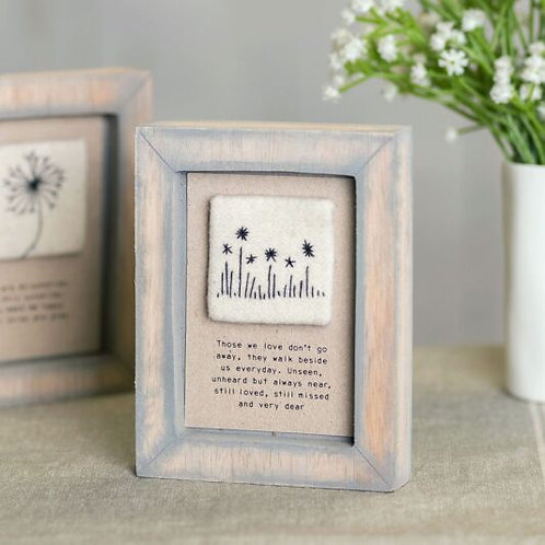 East Of India - 'Those We Love Don't Go Away' Embroidered Picture