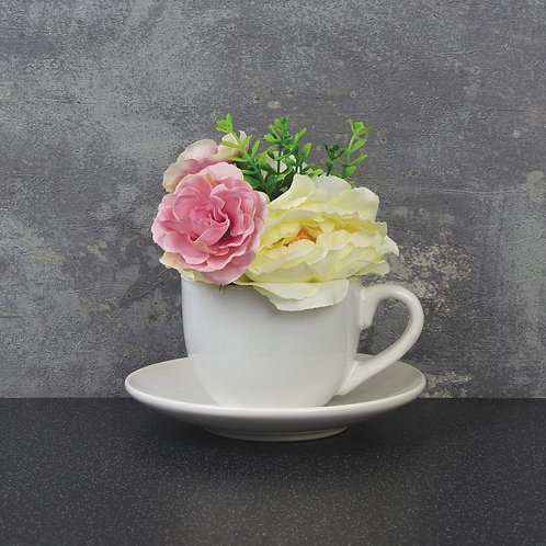 The Flower Patch - Pink Peonies Teacup & Saucer