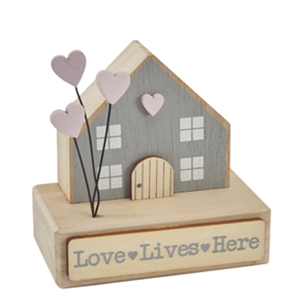 Love Lives Here - Wooden House Decoration