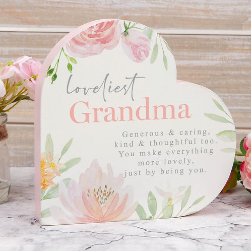 Loveliest Grandma Heart Mantel Plaque