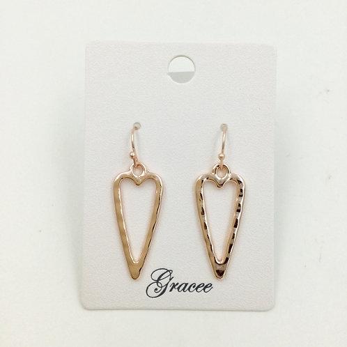 Rose Gold Hammered Long Heart Earrings