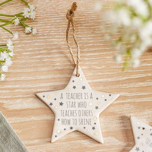 A Teacher Is A Star - Ceramic Hanging Star