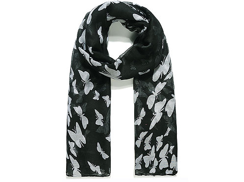 Black With White Butterfly Print Scarf