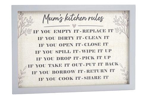 Mum's Kitchen Rules Framed Sign