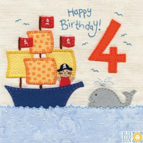 4th Birthday Card - Boy