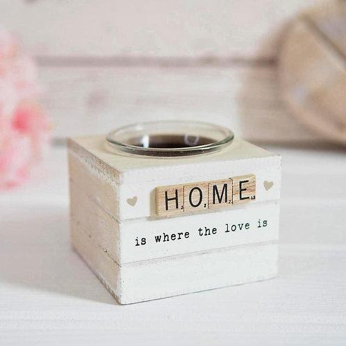 'Home' Scrabble Tile Tealight Holder