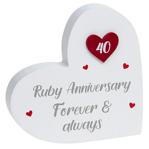 40th Ruby Wedding Anniversary - Heart Block
