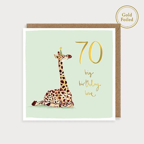 70th Birthday - Giraffe Birthday Card