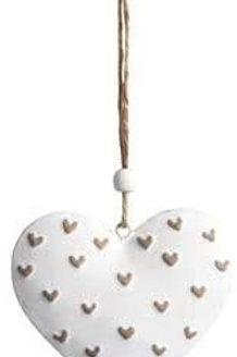 Shabby Chic White Tin Heart