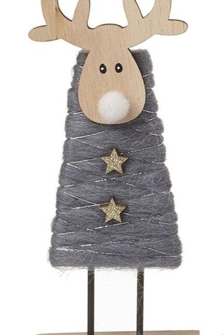Woollen Standing Reindeer - Grey