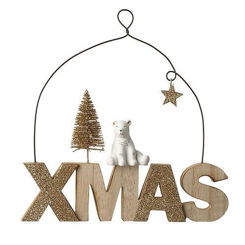Wooden'Xmas' Sign With Polar Bear