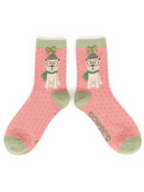 Powder UK - Westie In Scarf Ankle Socks