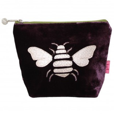 Lua - Gold Bee Velvet Cosmetic Pouch - Fig