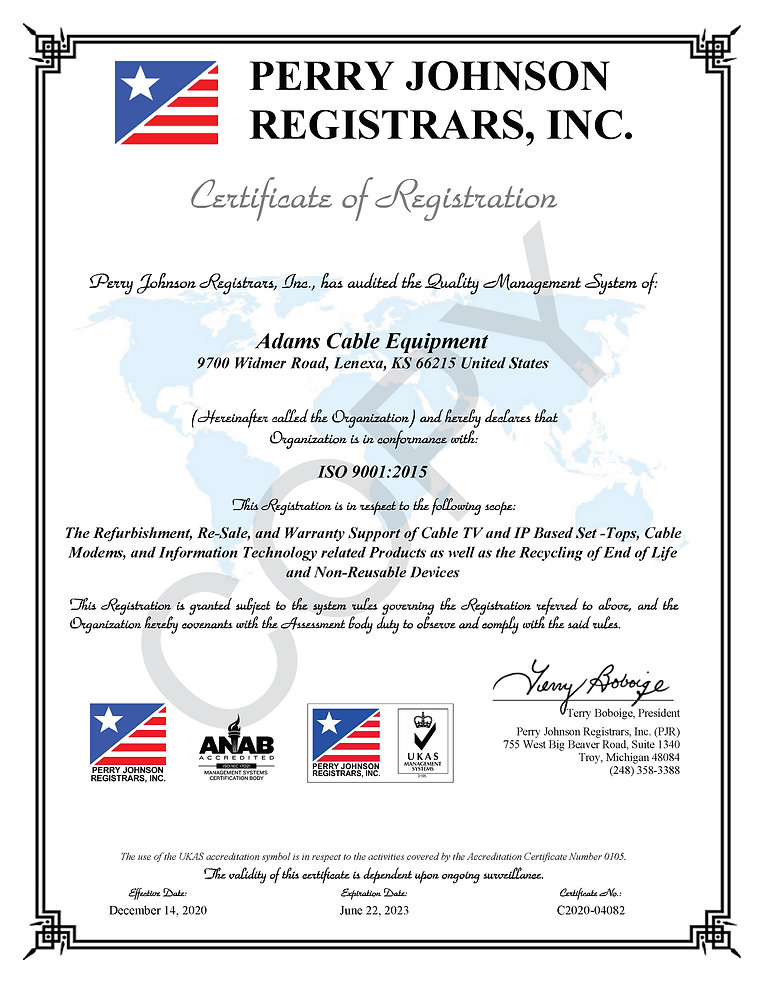 Adams Cable Equipment 9001 Certificate.j