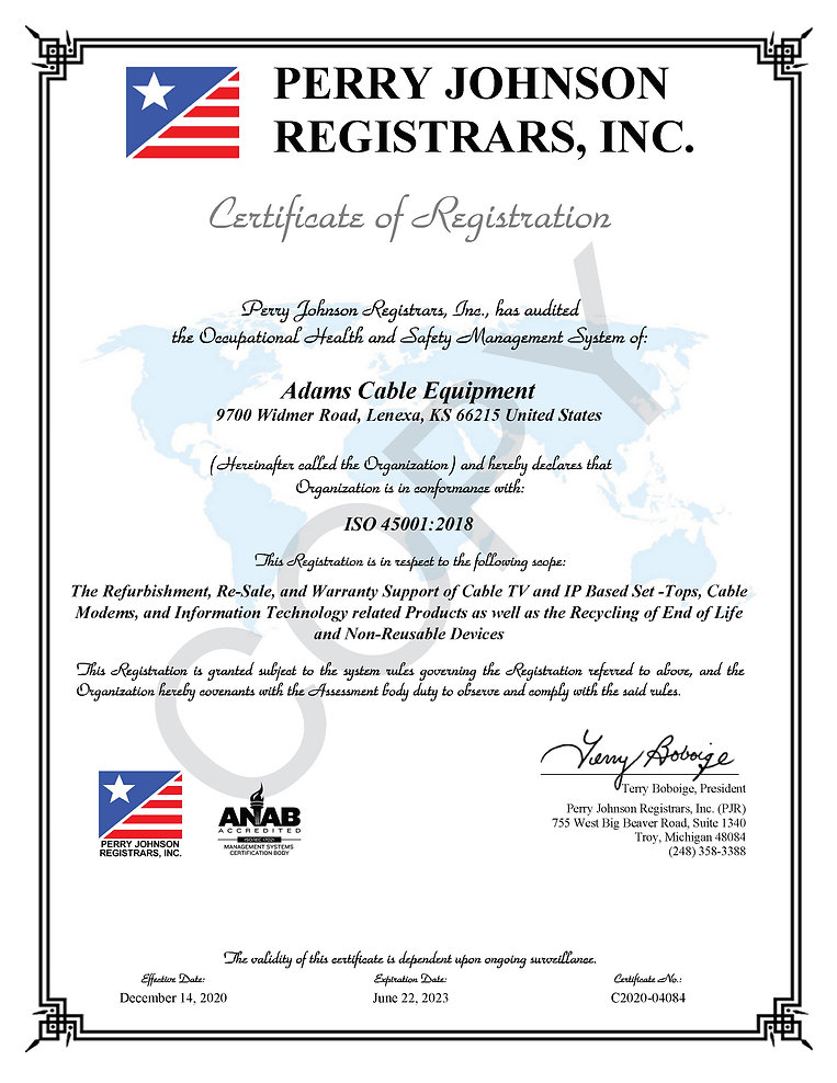 Adams Cable Equipment 45001 Certificate.