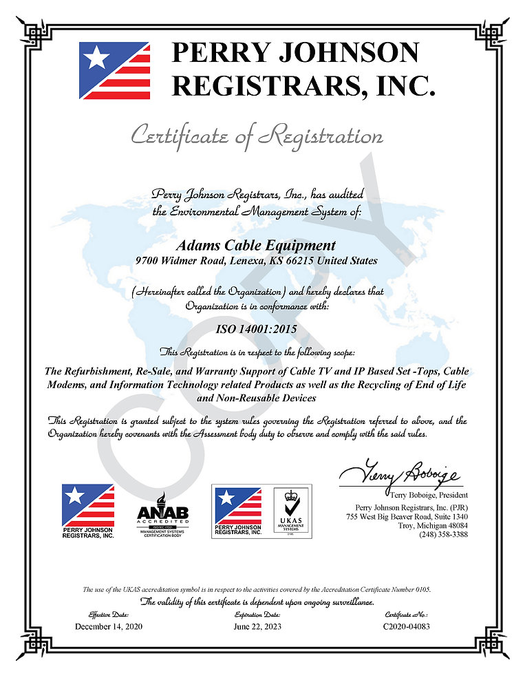 Adams Cable Equipment 14001 Certificate.