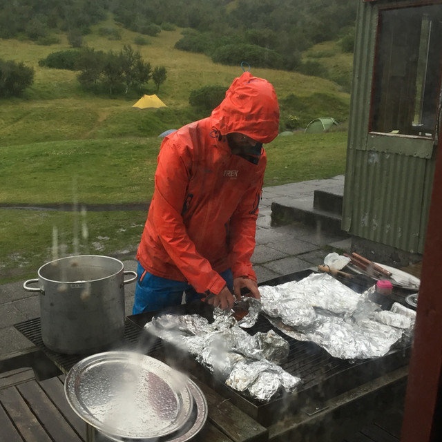 Grilling in pouring rain