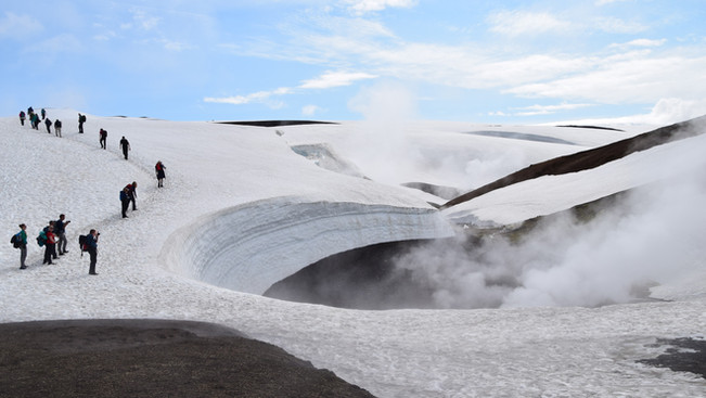 Geothermal heat melts the snow