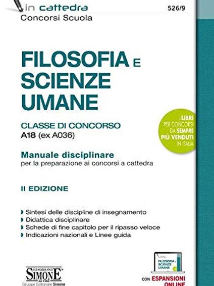 Filosofia e scienze umane. Classe di concorso A18 (ex A036). Manuale disciplinar