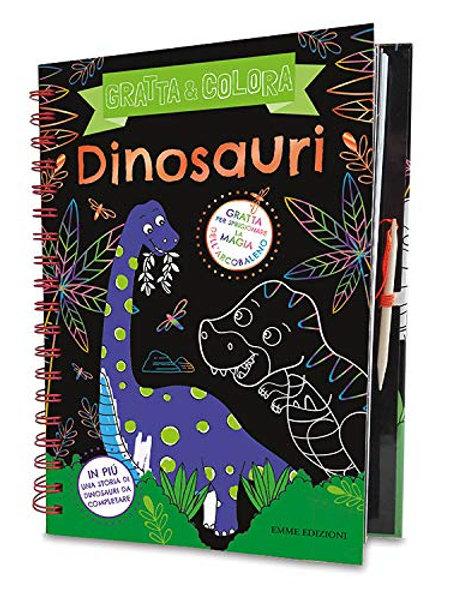 Dinosauri. Gratta & colora. Ediz. A spirale. Con gadget di Sarah Wade