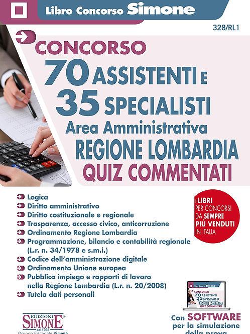 """Il libro """"70 assistenti e 35 specialisti. Area amministrativa. Regione Lombardia"""