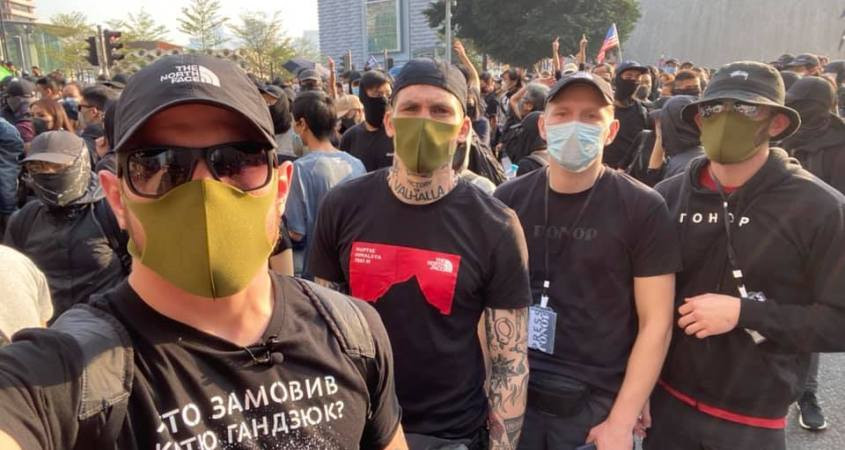 FILE PHOTO: Neo-Nazis from Ukraine attended Anti-Extradition Bill Protests  Image: Twitter
