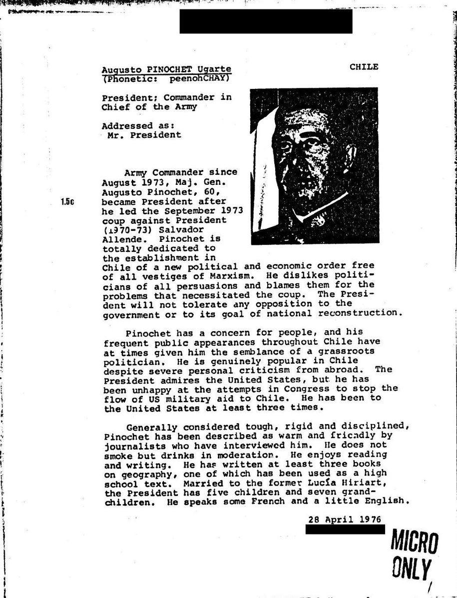 File Photo: Pinochet CIA Profile in 1976. Image: Wikimedia=Wikipedia