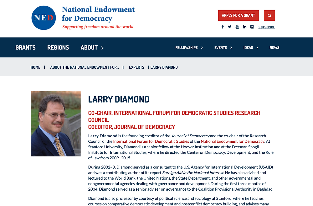 PHOTO FILE: LARRY DIAMOND CO-CHAIR, INTERNATIONAL FORUM FOR DEMOCRATIC STUDIES RESEARCH COUNCIL COEDITOR, JOURNAL OF DEMOCRACY.   Screenshot © Ryota Nakanishi