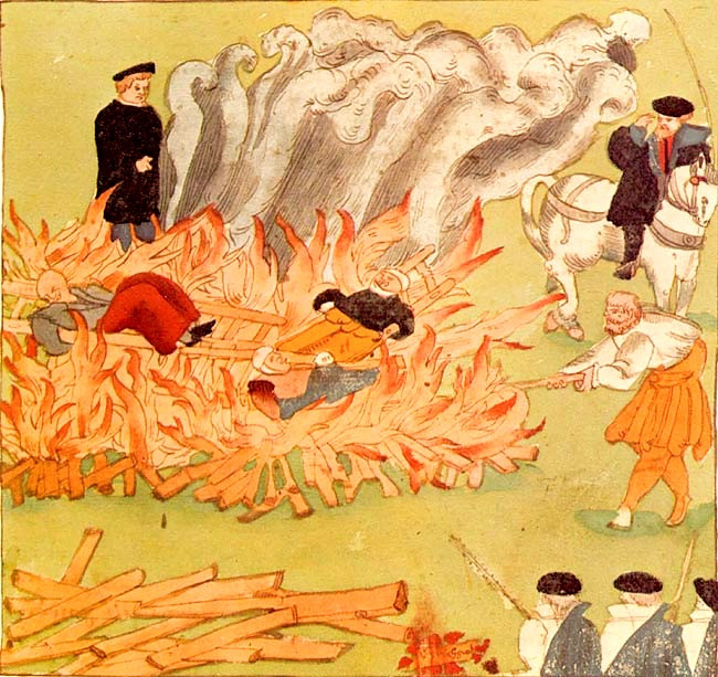 FILE PHOTO: Execution of three witches on 4 November 1585 in Baden (Switzerland), illustration from the Wickiana. ©Public Domain