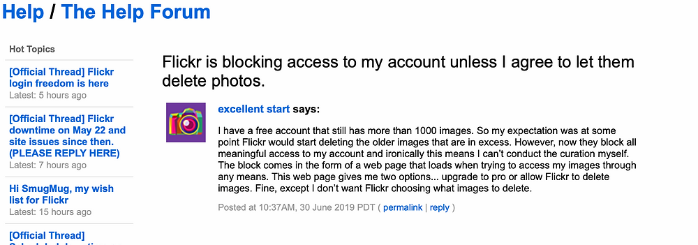Flicker secretly blocked access to their accounts and forced them to purchase Flicker Pro accounts