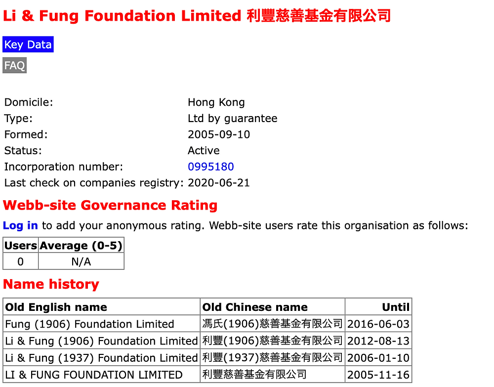FILE PHOTO: Basic Info. of Li & Fung Foundation Limited   Screenshot©Ryota Nakanishi